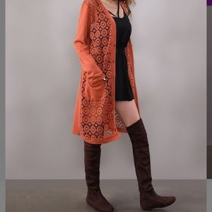 New with tags! Dark orange crochet front duster
